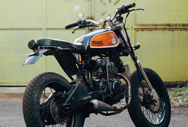 Classic black and orange motorcycle For Sale